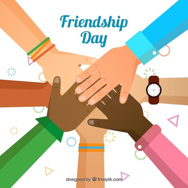Fondo del día de la amistad con manos unidas Vector Premium