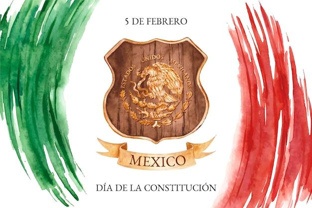 Fondo del día de la constitución en acuarela con bandera mexicana vector gratuito