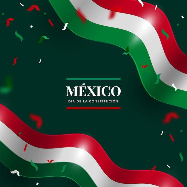 Fondo del día de la constitución realista con bandera mexicana vector gratuito