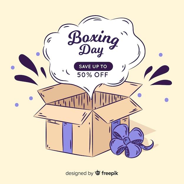Fondo día del empaquetado regalo abierto dibujado a mano Vector Premium