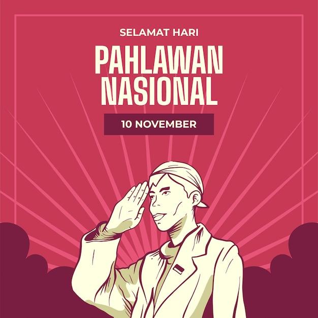Fondo del día de los héroes pahlawan vintage con hombre vector gratuito