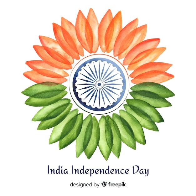 Fondo del día de la independencia de india en acuarela vector gratuito
