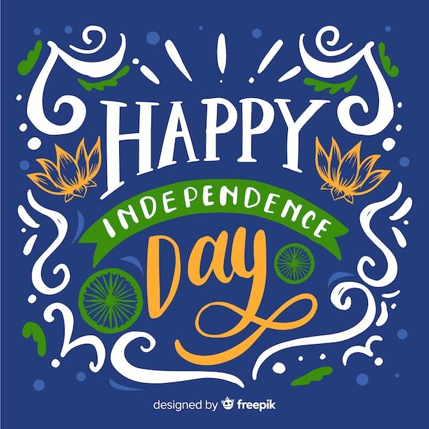 Fondo del día de la independencia de india dibujado a mano vector gratuito