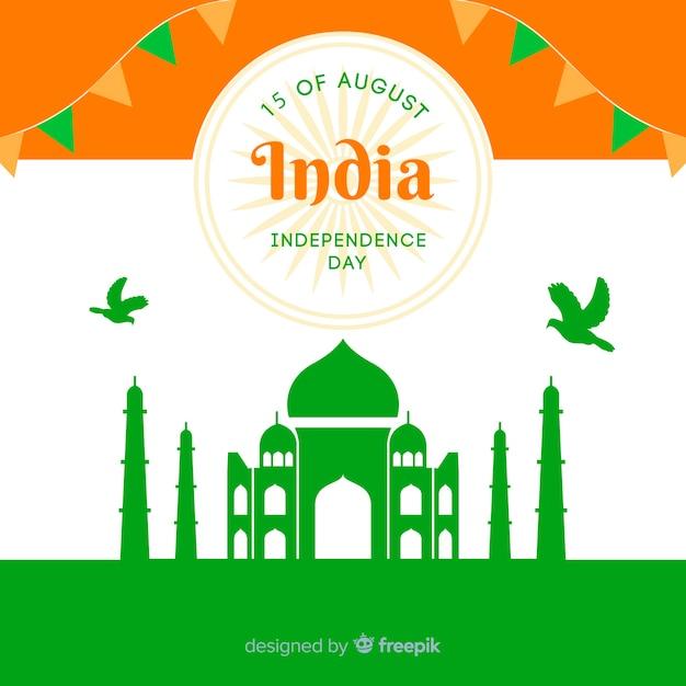 Fondo del día de la independencia de india en diseño plano vector gratuito