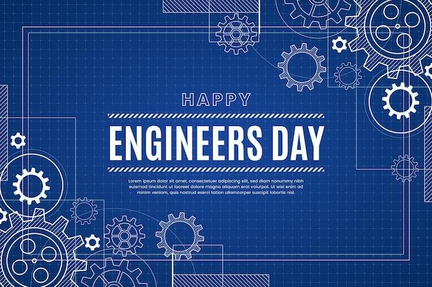 Fondo del día de ingenieros con ruedas dentadas vector gratuito