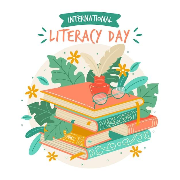 Fondo de día internacional de alfabetización dibujado a mano con libros Vector Premium
