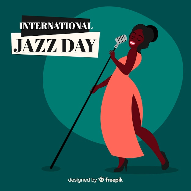 Fondo del día internacional del jazz dibujado a mano vector gratuito
