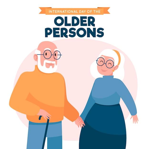 Fondo del día internacional de las personas mayores dibujado a mano Vector Premium