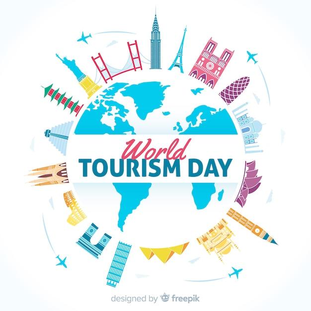 Fondo del día internacional del turismo con monumentos y transportes vector gratuito