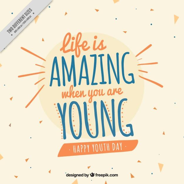 Fondo para el día de la juventud con una bonita cita vector gratuito