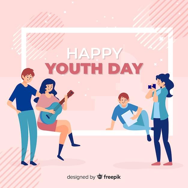 Fondo del día de la juventud dibujado a mano vector gratuito