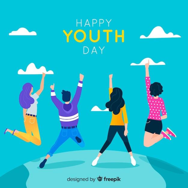 Fondo del día de la juventud en diseño plano vector gratuito