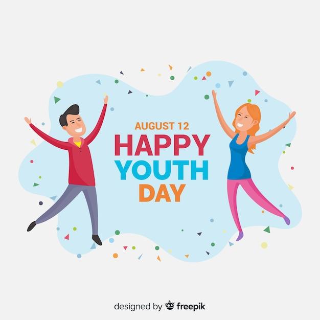 Fondo día de la juventud estilo plano vector gratuito