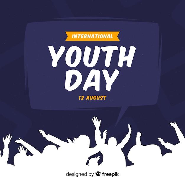 Fondo día de la juventud estilo plano Vector Premium