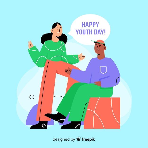 Fondo del día de la juventud con gente joven en diseño plano vector gratuito
