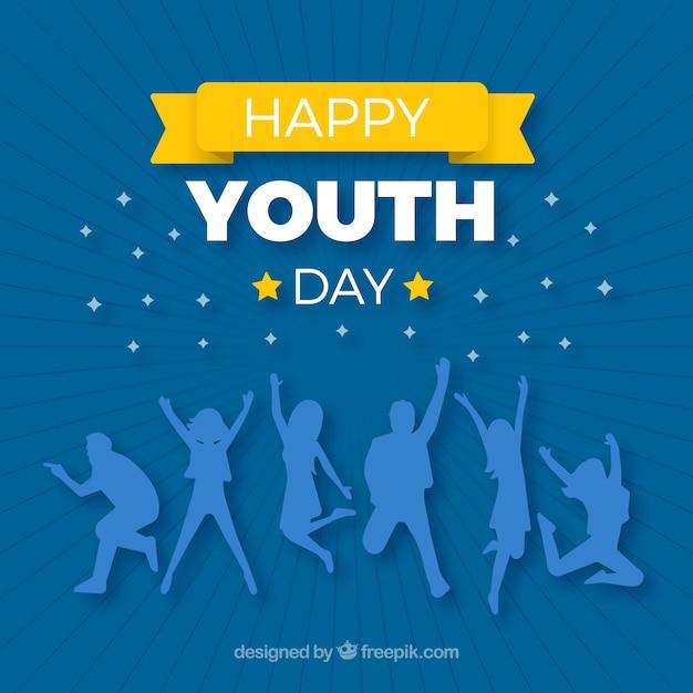 Fondo del día de la juventud con siluetas azules vector gratuito