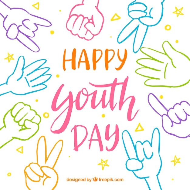 Fondo del día de la juventud vector gratuito