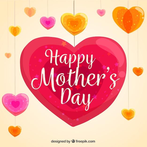 Fondo Del Día De La Madre Con Corazones Colgando Descargar