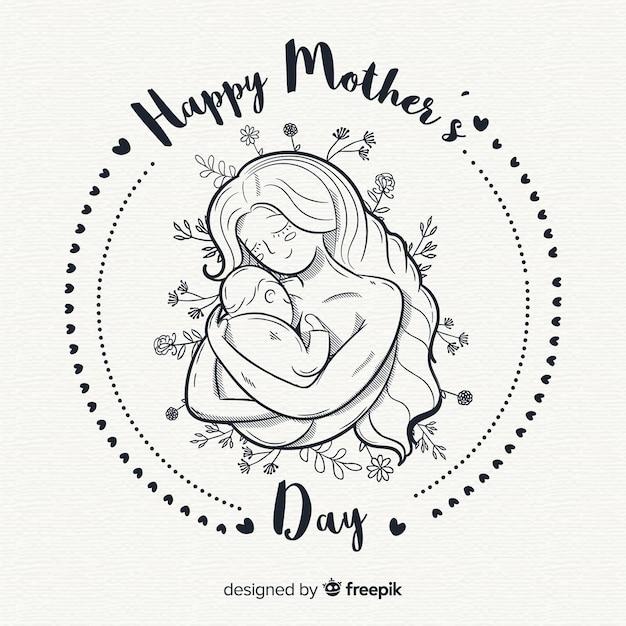 Fondo del día de la madre dibujado a mano vector gratuito