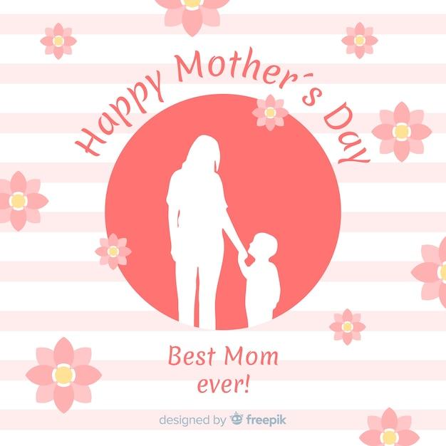 Fondo del día de la madre en diseño plano vector gratuito