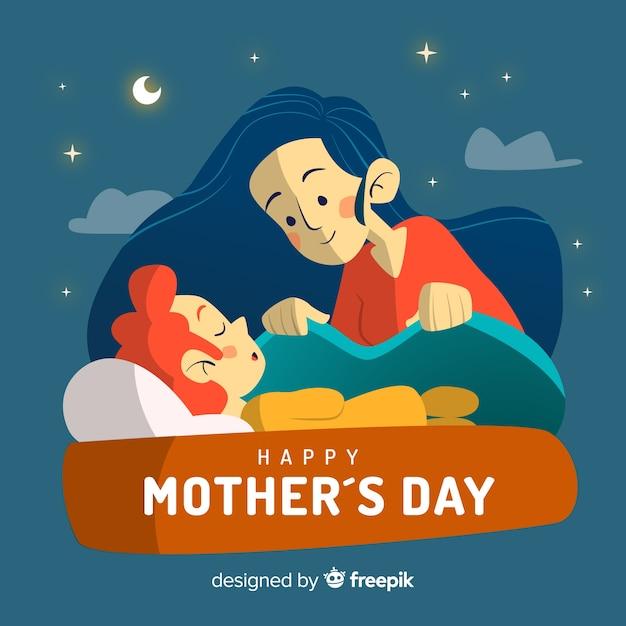 Fondo día de la madre madre cuidando a su hijo vector gratuito