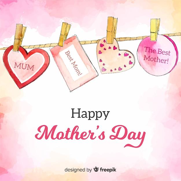 Fondo día de la madre mensajes colgando vector gratuito