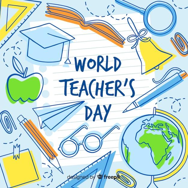 Fondo del día del maestro dibujado a mano vector gratuito