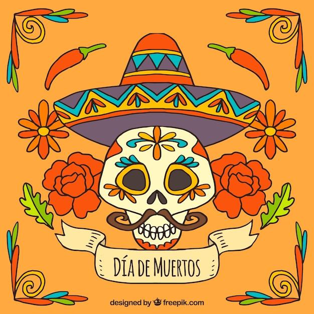 Fondo Del Día De Los Muertos De Calavera Con Sombrero Mexicano