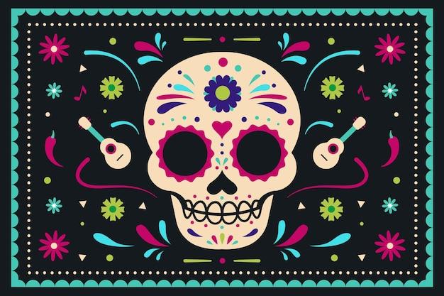 Fondo de dia de muertos en diseño plano vector gratuito