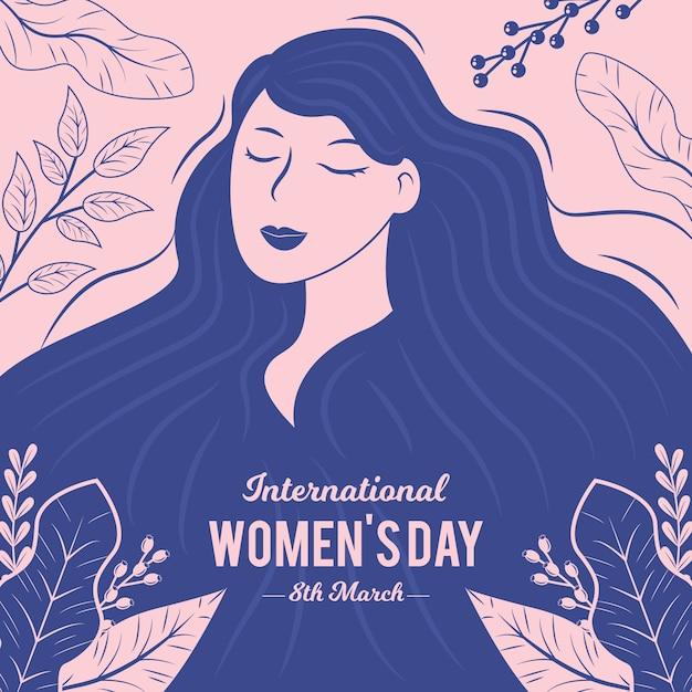 Fondo del día de la mujer dibujado a mano vector gratuito