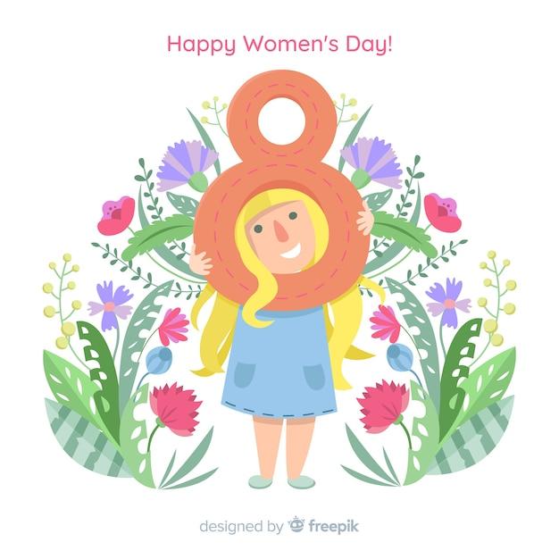 Fondo del día de la mujer en diseño plano vector gratuito