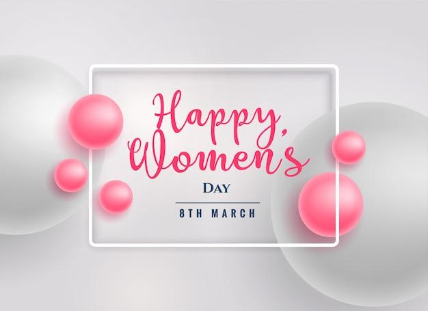Fondo del día de las mujeres felices hermosas perlas rosadas vector gratuito