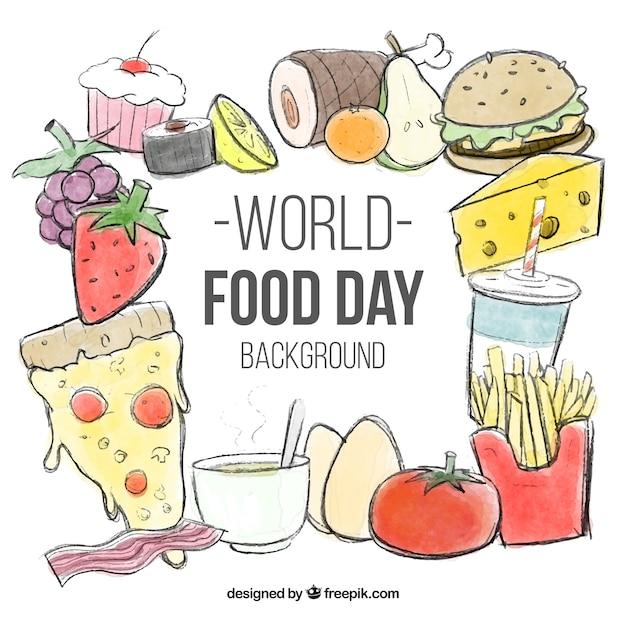 Fondo Del Dia Mundial De La Alimentacion Con Bocetos De Comida Vector Gratis