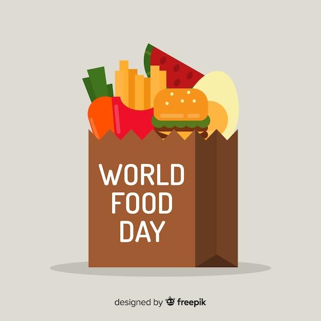 Fondo del día mundial de la comida con comida rápida vector gratuito