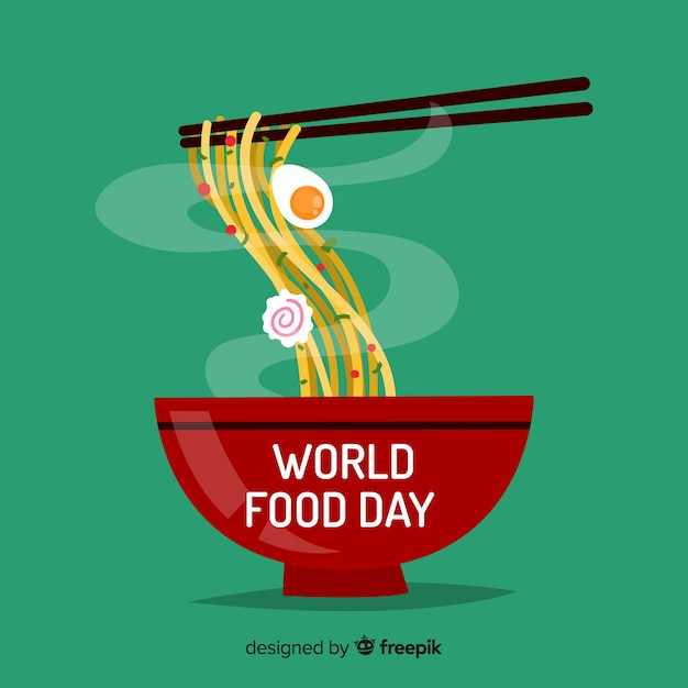 Fondo del día mundial de la comida con pasta vector gratuito