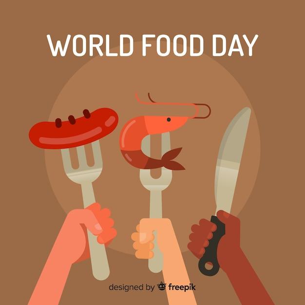 Fondo del día mundial de la comida con tenedores vector gratuito