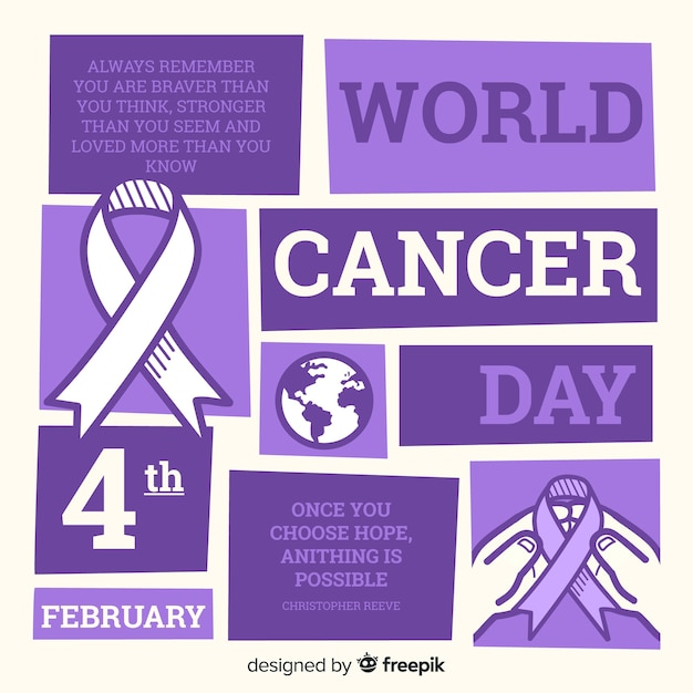 Fondo del día mundial contra el cáncer en diseño plano vector gratuito