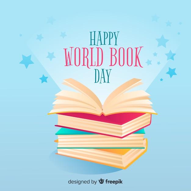 Fondo del día mundial del libro dibujado a mano vector gratuito
