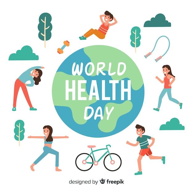 Fondo del día mundial de la salud dibujado a mano vector gratuito