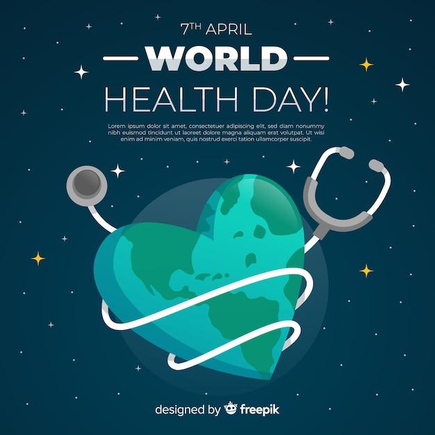 Fondo del día mundial de la salud en diseño plano vector gratuito