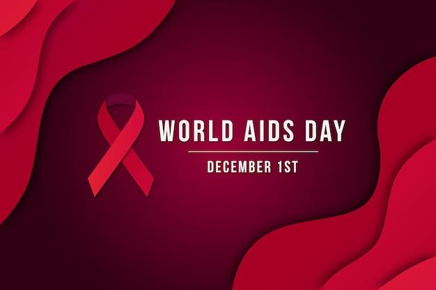 Fondo del día mundial del sida en estilo papel Vector Premium