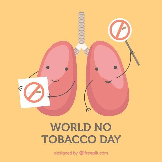 Fondo del día mundial sin tabaco con pulmones en huelga Vector Premium