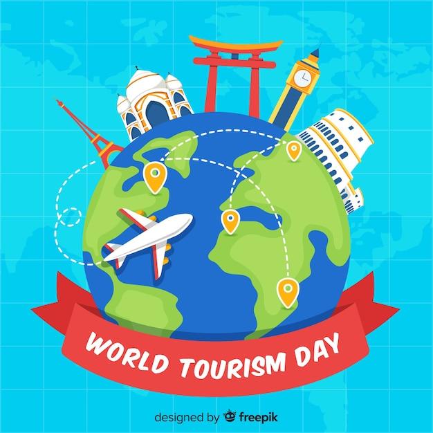 Fondo del día mundial del turismo en diseño plano vector gratuito