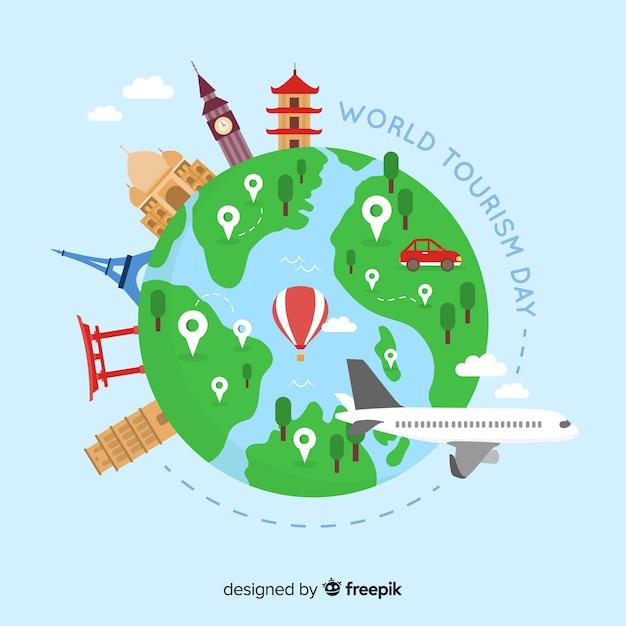 Fondo del día mundial del turismo con monumentos y transportes vector gratuito