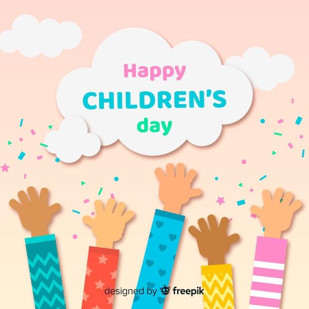 Fondo día del niño manos planas vector gratuito