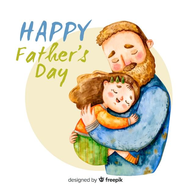 Fondo del día del padre en acuarela vector gratuito