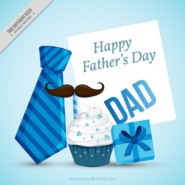 Fondo del día del padre con artículos decorativos en tonos azules vector gratuito