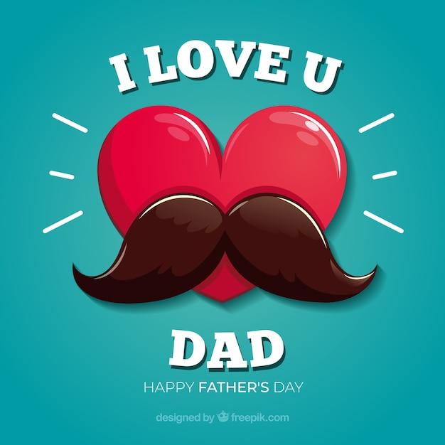 Fondo de día del padre con corazón y bigote vector gratuito