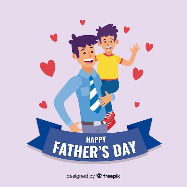 Fondo del día del padre en diseño plano vector gratuito