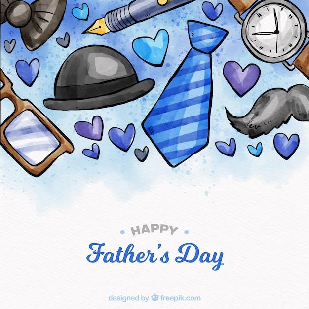 Fondo de día del padre con elementos en estilo acuarela vector gratuito